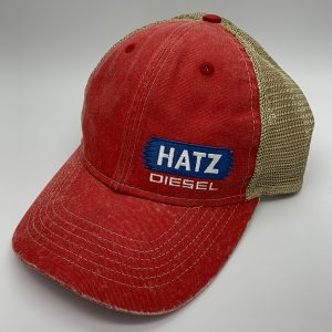 Red baseball hat.