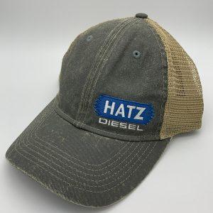 Gray baseball hat.